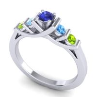 Blue Sapphire Petite Sapallava Ring with Swiss Blue Topaz and Peridot in 18k White Gold