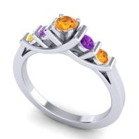 Citrine Petite Sapallava Ring with Amethyst in 14k White Gold