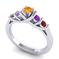 Citrine Petite Sapallava Ring with Amethyst and Garnet in Palladium