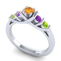 Citrine Petite Sapallava Ring with Amethyst and Peridot in 14k White Gold