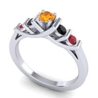 Citrine Petite Sapallava Ring with Black Onyx and Ruby in 14k White Gold