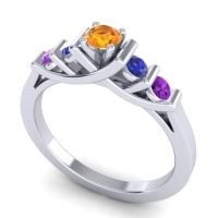 Citrine Petite Sapallava Ring with Blue Sapphire and Amethyst in Palladium