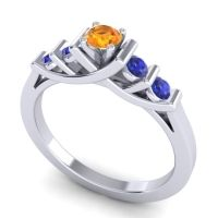 Citrine Petite Sapallava Ring with Blue Sapphire in Palladium