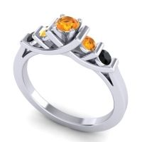 Citrine Petite Sapallava Ring with Black Onyx in 18k White Gold