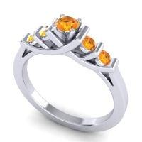 Citrine Petite Sapallava Ring in 18k White Gold