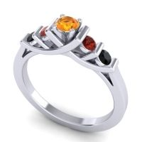 Citrine Petite Sapallava Ring with Garnet and Black Onyx in 14k White Gold