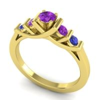 Amethyst Petite Sapallava Ring with Blue Sapphire in 18k Yellow Gold