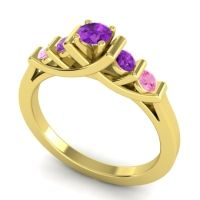 Amethyst Petite Sapallava Ring with Pink Tourmaline in 18k Yellow Gold