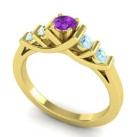 Amethyst Petite Sapallava Ring with Aquamarine in 14k Yellow Gold