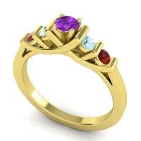 Amethyst Petite Sapallava Ring with Aquamarine and Garnet in 18k Yellow Gold