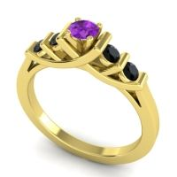 Amethyst Petite Sapallava Ring with Black Onyx in 18k Yellow Gold