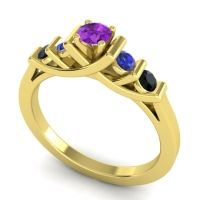 Amethyst Petite Sapallava Ring with Blue Sapphire and Black Onyx in 18k Yellow Gold