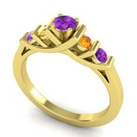 Amethyst Petite Sapallava Ring with Citrine in 18k Yellow Gold
