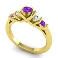 Amethyst Petite Sapallava Ring with Diamond in 14k Yellow Gold