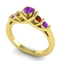 Amethyst Petite Sapallava Ring with Garnet in 14k Yellow Gold
