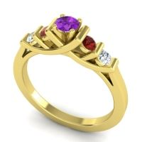 Amethyst Petite Sapallava Ring with Garnet and Diamond in 14k Yellow Gold