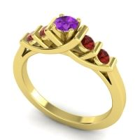 Amethyst Petite Sapallava Ring with Garnet in 14k Yellow Gold