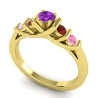 Amethyst Petite Sapallava Ring with Garnet and Pink Tourmaline in 18k Yellow Gold