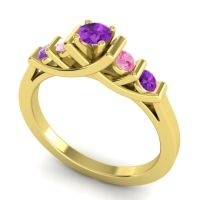 Amethyst Petite Sapallava Ring with Pink Tourmaline in 14k Yellow Gold