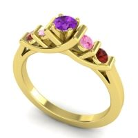 Amethyst Petite Sapallava Ring with Pink Tourmaline and Garnet in 18k Yellow Gold
