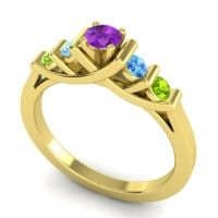 Amethyst Petite Sapallava Ring with Swiss Blue Topaz and Peridot in 14k Yellow Gold