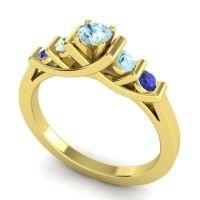 Aquamarine Petite Sapallava Ring with Blue Sapphire in 18k Yellow Gold