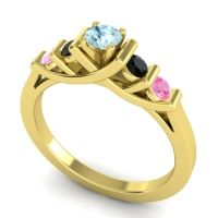 Aquamarine Petite Sapallava Ring with Black Onyx and Pink Tourmaline in 18k Yellow Gold