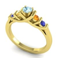 Aquamarine Petite Sapallava Ring with Citrine and Blue Sapphire in 18k Yellow Gold