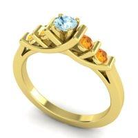 Aquamarine Petite Sapallava Ring with Citrine in 18k Yellow Gold