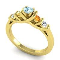 Aquamarine Petite Sapallava Ring with Citrine and Diamond in 18k Yellow Gold