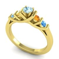Aquamarine Petite Sapallava Ring with Citrine and Swiss Blue Topaz in 18k Yellow Gold