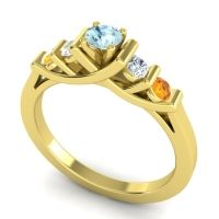 Aquamarine Petite Sapallava Ring with Diamond and Citrine in 14k Yellow Gold