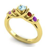 Aquamarine Petite Sapallava Ring with Garnet and Amethyst in 14k Yellow Gold