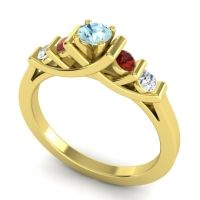 Aquamarine Petite Sapallava Ring with Garnet and Diamond in 14k Yellow Gold