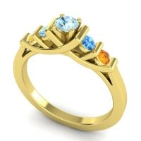 Aquamarine Petite Sapallava Ring with Swiss Blue Topaz and Citrine in 14k Yellow Gold