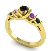 Black Onyx Petite Sapallava Ring with Amethyst in 14k Yellow Gold