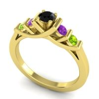 Black Onyx Petite Sapallava Ring with Amethyst and Peridot in 14k Yellow Gold