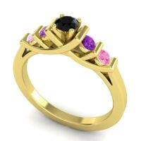 Black Onyx Petite Sapallava Ring with Amethyst and Pink Tourmaline in 14k Yellow Gold