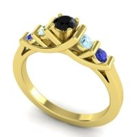Black Onyx Petite Sapallava Ring with Aquamarine and Blue Sapphire in 14k Yellow Gold