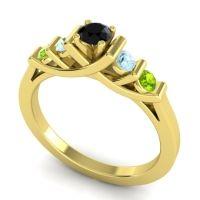 Black Onyx Petite Sapallava Ring with Aquamarine and Peridot in 14k Yellow Gold
