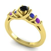 Black Onyx Petite Sapallava Ring with Blue Sapphire and Amethyst in 18k Yellow Gold