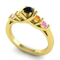 Black Onyx Petite Sapallava Ring with Citrine and Pink Tourmaline in 18k Yellow Gold