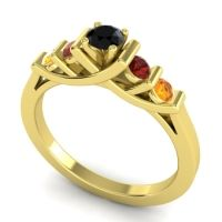 Black Onyx Petite Sapallava Ring with Garnet and Citrine in 14k Yellow Gold