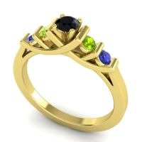 Black Onyx Petite Sapallava Ring with Peridot and Blue Sapphire in 14k Yellow Gold