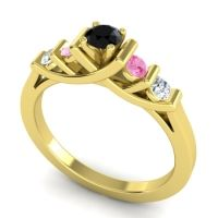 Black Onyx Petite Sapallava Ring with Pink Tourmaline and Diamond in 18k Yellow Gold