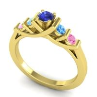 Blue Sapphire Petite Sapallava Ring with Swiss Blue Topaz and Pink Tourmaline in 14k Yellow Gold