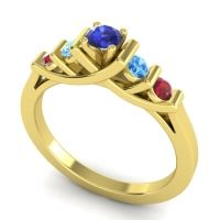 Blue Sapphire Petite Sapallava Ring with Swiss Blue Topaz and Ruby in 18k Yellow Gold