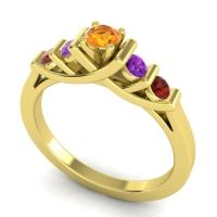 Citrine Petite Sapallava Ring with Amethyst and Garnet in 14k Yellow Gold