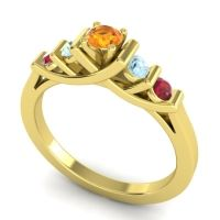 Citrine Petite Sapallava Ring with Aquamarine and Ruby in 18k Yellow Gold
