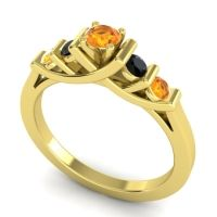 Citrine Petite Sapallava Ring with Black Onyx in 14k Yellow Gold